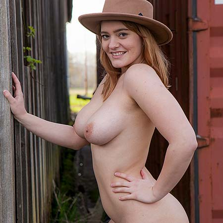 Busty Dallin Thorn only keeps her hat on
