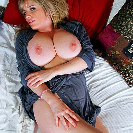 Rachel wakes up and shows off her huge tits
